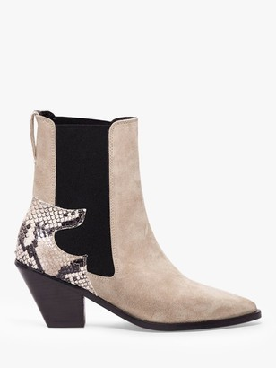 AllSaints Sara Suede Cuban Heel Ankle Boots, Taupe