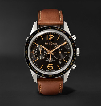 Bell & Ross Br 126 Sport Heritage Gmt And Flyback Chronograph Steel And Leather Watch, Ref. No. Brv126-Fly-Gmt/sca