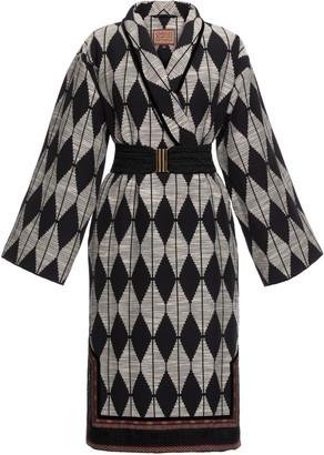 Lena Hoschek Globetrotter Ribbon-Detailed Jacquard Knit Midi Wrap Dress