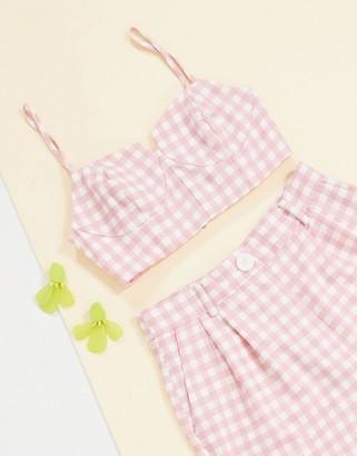 ASOS DESIGN 3 piece suit bralette in pink gingham