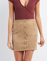 Charlotte Russe Faux Suede Button-Up Skirt