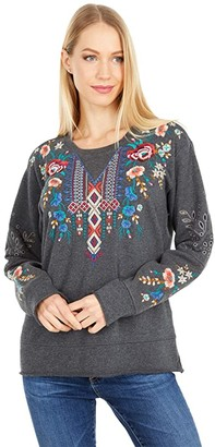 Johnny Was Isadora Thermal Mix F.T. Pullover (Charcoal Grey) Women's Clothing