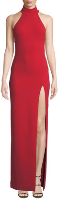 SOLACE London Zadid High-Neck Halter Front-Split Gown