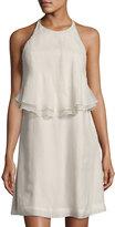 Brunello Cucinelli Monili-Trim Silk Halter Dress, Ivory