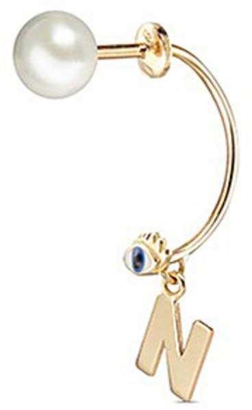 Delfina Delettrez 'ABC Micro Eye Piercing' freshwater pearl 18k yellow gold single earring - N