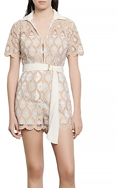 Sandro Yanel Belted Lace Romper