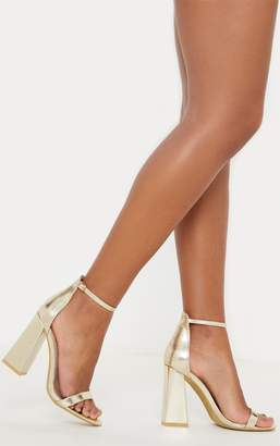 PrettyLittleThing Gold High Block Heel Strappy Sandal