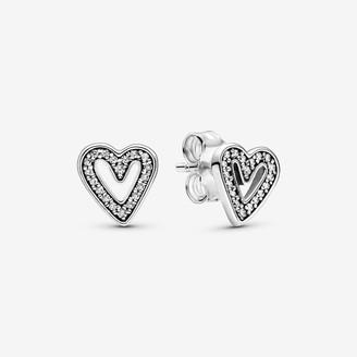 Pandora Sparkling Freehand Heart Stud Earrings