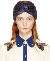 Gucci Blue and Red Lurex Supremette Turban