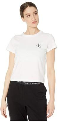 Calvin Klein Underwear One Basic Lounge Jersey Short Sleeve Crew Neck (White) Women's Pajama
