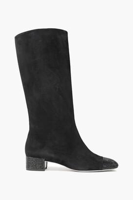 Rene Caovilla Rene' Caovilla Crystal-embellished Suede Knee Boots