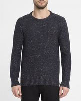 Revolution Navy Mix 6001 Rib Knit Border Fitted Round-Neck Sweater