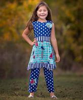 Red White & Blue Dress & Leggings - Infant Toddler & Girls