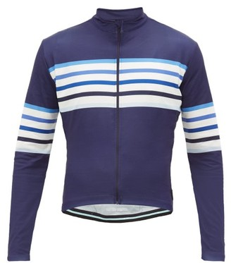 Café Du Cycliste Striped Zipped Technical-jersey Cycling Top - Mens - Blue Multi