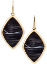 Michael Kors Gold-Tone Stainless Steel Black Stone Drop Earrings