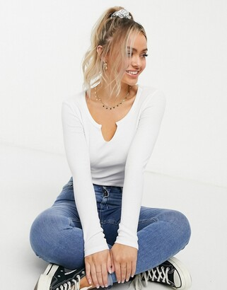 Brave Soul notch neck long sleeve crop top