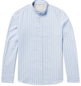 Brunello Cucinelli - Grandad-collar Striped End-on-end Cotton And Linen-blend Shirt
