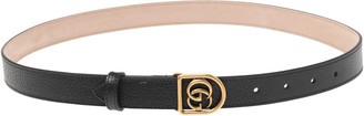 Gucci Black Leather Double G Buckle Narrow Belt Size 85 CM