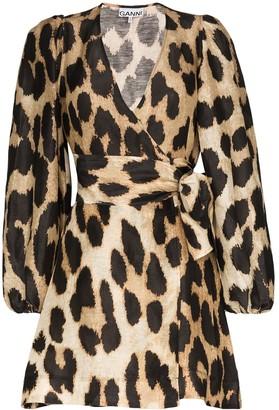 Ganni Leopard-Print Wrap Dress