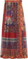 Etro Embroidered Printed Silk-Chiffon Wrap Maxi Skirt