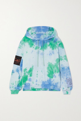 McQ Unity Appliqued Tie-dyed Cotton-jersey Hoodie - Blue