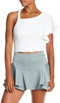 Flying Tomato Asymmetric Textured Crop Top