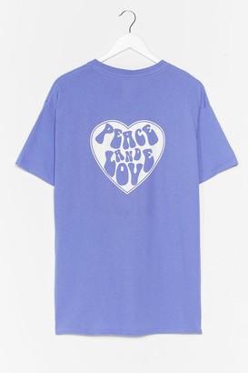 Nasty Gal Womens Peace and Love Baby Graphic Tee - Purple - S
