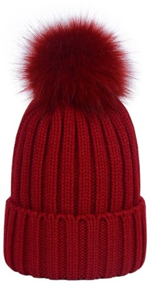 LAUSONS Women's Warm Ribbed Knit Winter Bobble Hat Faux Fur Pom Pom Beanie in Grey