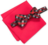 Alfani Men's Mars Gingham Bow Tie & Solid Pocket Square Set, Only at Macy's