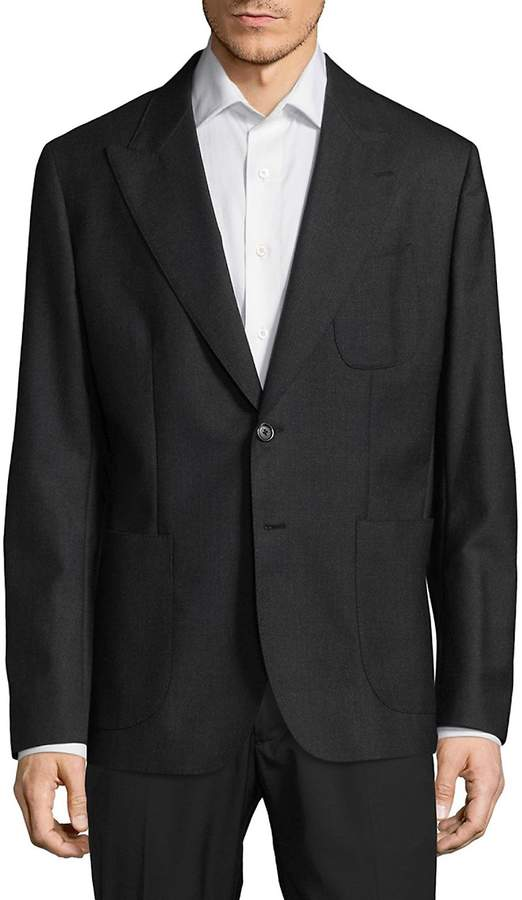 Dolce & Gabbana Men's Regular Fit Peak Lapel Virgin Wool Sportcoat