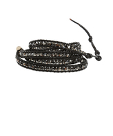 Chan Luu Black Chrome Silver Bead on Black Leather Wrap Bracelet