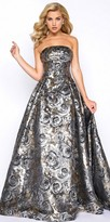 Mac Duggal Strapless Metallic Floral Embroidered Ball Gown