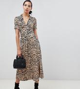 Asos Tall DESIGN Tall animal print midi tea dress in rib