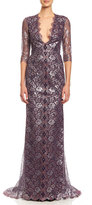 Carolina Herrera 3/4-Sleeve Metallic Lace-Print Gown, Silver/Red
