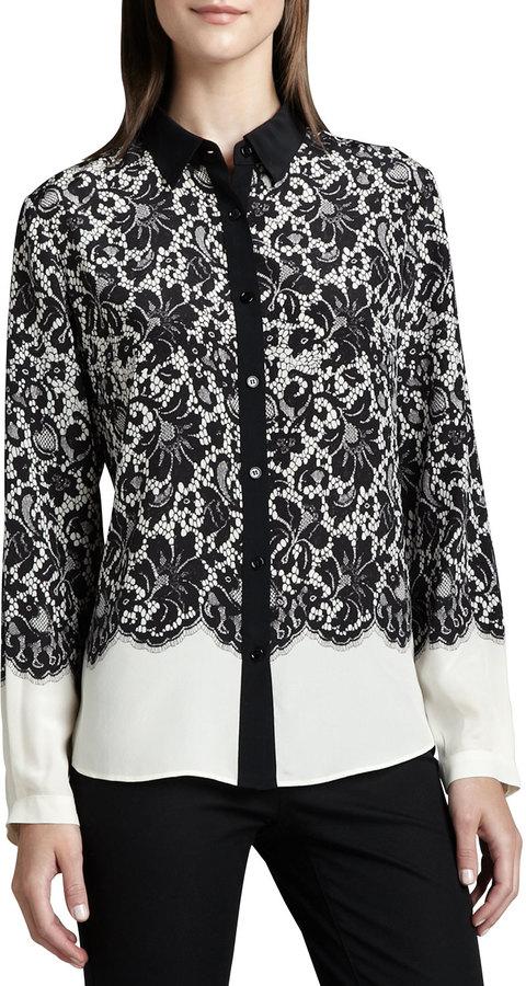 Go Silk Lace-Print Silk Blouse, Petite