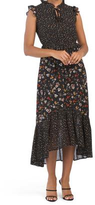 Twin Print Flounce Elastic Waist Dress