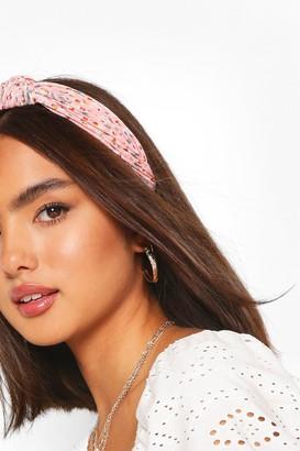 boohoo Floral Print Plisse Twist Knot Headband
