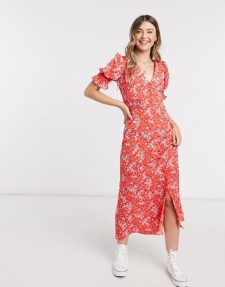 ASOS DESIGN button through maxi tea dress with shirred waist in floral print