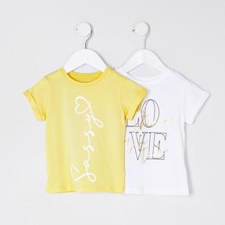 River Island mini girls Yellow 'Sassy' 2 pack t-shirts
