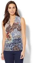 New York & Co. 7th Avenue Design Studio - Chain-Link Detail Sleeveless Shirred Top - Mixed Print