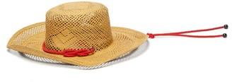 Sensi Calado Cord-trimmed Straw Boater Hat - Womens - Beige