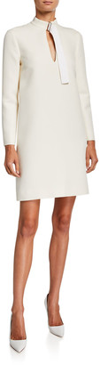 Rosetta Getty Long-Sleeve Wool Belted-Neck Shift Dress