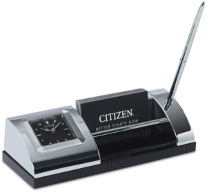 Citizen Executive Suite Silver-Tone Metal & Black Crystal Desk Clock