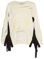 Christopher Kane Stitch-detailed tie-side cotton sweater