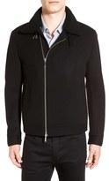 BOSS Calsen Genuine Shearling Collar Wool Blend Jacket
