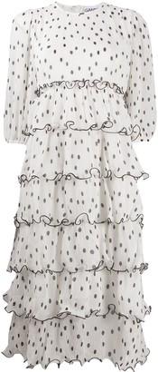 Ganni Polka-Dot Print Tiered Maxi Dress
