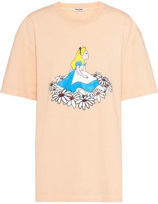Miu Miu Alice in Wonderland-print oversized T-shirt