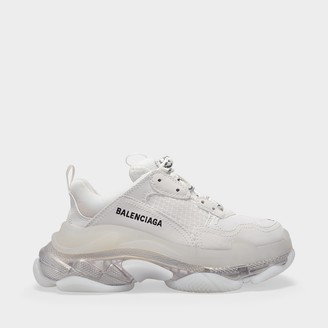 Balenciaga Triple S Clear Sole Sneakers In White Transparent