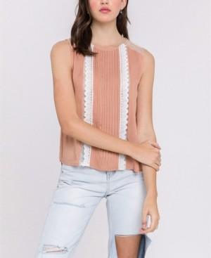 Endless Rose Mesh Yoke Lace Trim Top