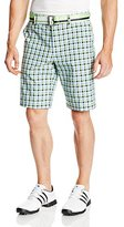 Izod Men's Flat Front Straight Plaid Belted Golf Short In Jade Lime